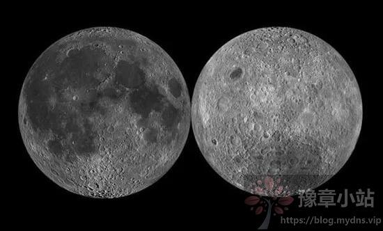 """月球的正面(左)和背面(右)图,可以看出,月球背面的陨石坑明显多于月球正面,因此,月球可以说为了地球的安危""""挨了""""不少的陨石撞击。"""